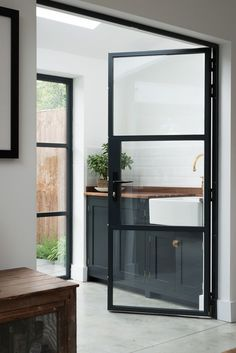Modern Interior Doors Custom Made With A Minimalist Door Frame. Modern Interior Doors With An Invisible Door Frame. New Crittall Style Glass Paritions Doors! Home and Family Devol Shaker Kitchen, Modern Shaker Kitchen, Kitchen Doors, Pantry Doors, Kitchen Cupboards, Closet Doors, The Design Files, My New Room, Home Interior