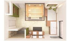Floor plan of the 28 square meter bathroom. Home Sauna Kit, Zoom Call, Spa, Square Meter, Cafe Interior, Smart Home, Floor Plans, Lounge, Shelves