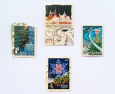 Soviet postage stamps New Year postage stamps от GoodVintageArt