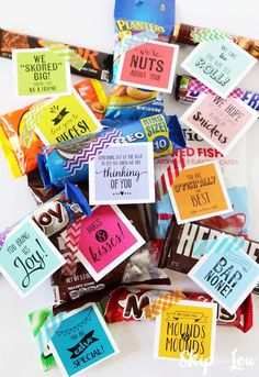 Care package filled with candy grams. Download all the printable gift tags for free and attach to candy and small gifts to brightens someone's day.