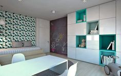armoire blanche et turquoise et déco murale en papier peint assorti