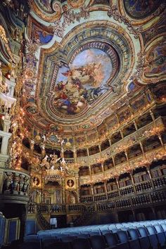 (Via grotesqMB ) Margravial Opera House, Bayreuth, Germany The Markgräfliches Opernhaus or Margrave's Opera House is a Baroque opera house built between 1744 and 1748 by Joseph Saint-Pierre. Baroque Architecture, Beautiful Architecture, Beautiful Buildings, Church Architecture, Beautiful World, Beautiful Places, Concert Hall, Kirchen, The Places Youll Go