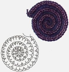 Crochet Round Cord Tutorial Get more videos . Yarn is cotton, the meterage is 169 meters in 50 grams. Crochet Patterns Tutorial Caterpillar cord of lush columns and air . How to Make a Crochet Spiral Cord Tutorial 128 The video tutorial is wel Crochet Motifs, Crochet Flower Patterns, Crochet Diagram, Crochet Stitches Patterns, Crochet Chart, Crochet Squares, Crochet Flowers, Tutorial Crochet, Blanket Crochet