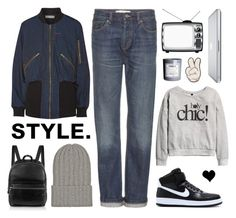 """Weekend!"" by elske88 ❤ liked on Polyvore featuring NIKE, Marc by Marc Jacobs, Preen, The Elder Statesman, H&M, Elizabeth and James, Anya Hindmarch, backpack, boyfriendjeans and beanie"
