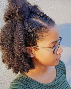 """""""Wash and Go with three cornroll braids in front. This was a new style for me and it came out cute!"""" Hair Inspo from @curly_ari"""