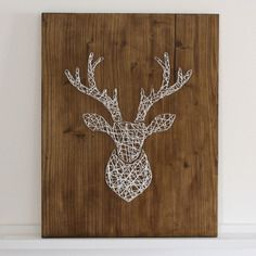 deer head string art string art diy string art and. Black Bedroom Furniture Sets. Home Design Ideas