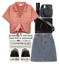 """Well this is AwKwArD."" by ra-nana ❤ liked on Polyvore featuring A.P.C., Bobbi Brown Cosmetics, Lemaire, Converse and Fuji"