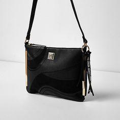 effdea316911 Black swirly panel cross body bag