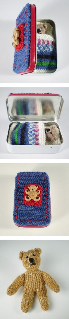 """Free knitting pattern for Pocket Ted toy - Frankie Brown's tiny teddy bear is only 8 cm / 3"""" tall and sleeps in his own knitted bed in a tin about the size of an Altoid tin (9.5cm × 6 cm, 2 cm deep or 3¾ × 2¼"""", ¾"""" deep). Pipe cleaners in arms and legs let you position him for play."""