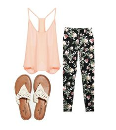 Super cute #spring #fashion #floral #printedleggings #racerback