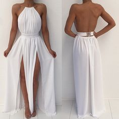 PRODUCT DETAILS - Maxi dress - Long - Backless - Halter neck - Tie up belted - Double slit