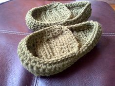 "My husband expressed some desire for a ""manly"" double-soled slipper. I've been wanting to make a loafer-style slipper for a little while and haven't found a pattern that I really like so I'm going to make my own up and am posting the notes, just in case they help anyone else."