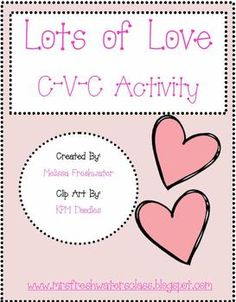 This adorable word activity will have your studets hearts bursting with joy!It is a fun and engaging way to practice C-V-C word formation for the...