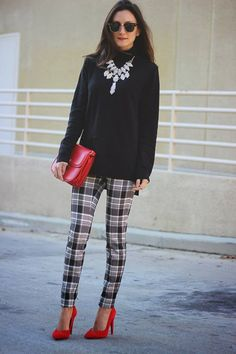 #Checked, #Print, #Trousers #apparel - Checked Print Trousers
