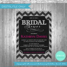 ♥ Bridal Shower Invitation - Silver Chevron Sparkle ♥    Every bride deserves elegance and sparkle! And she can have it with these fun silver