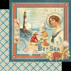 Graphic45-BY-THE-SEA-12x12-Dbl-Sided-Scrapbooking-2-Papers-VINTAGE-SEASIDE