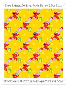 Free Gold Star Large Elmo Gifts Pattern Paper - Sesame Street
