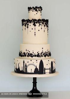 Iconic London skyline silhouette wedding cake