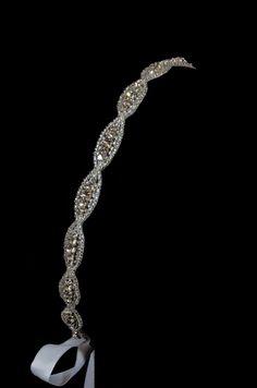 "Crystal Rhinestone Beaded Bridal Headband - ""The Lily"""