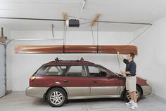 Large, unwieldy items like kayaks are tough to store, especially if you have to lift them by yourself. The Harken Hoister offers a simple solution. It fastens to the ceiling; then you slide a couple of straps under the kayak, pull a rope and lift the kayak off the vehicle rack. The block-and-tackle pulley system allows you to raise and lower up to 200 pounds without a lot of exertion. The kayak is stored in suspension near the ceiling. The Hoister also works great for canoes, dinghies and…