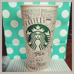 Words on a cup Arte Starbucks, Starbucks Cup Drawing, Starbucks Cup Design, Copo Starbucks, Starbucks Logo, Starbucks Coffee, Coffee Cup Art, Coffee And Books, Hot Coffee