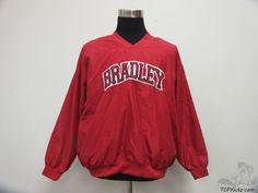 Badger Bradley Braves Light Pullover Jacket sz L Large University SEWN NCAA #BadgerSport #BradleyBraves #tcpkickz