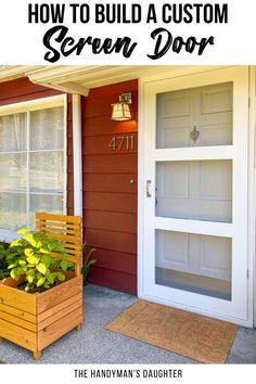 Diy Furniture Projects, Woodworking Projects Diy, Diy Pallet Projects, Outdoor Projects, Home Projects, Outdoor Decor, Woodworking Plans, Custom Screen Doors, Wooden Screen Door