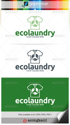 Eco Laundry V.2 Template Logo Suitable for : Company Logo, Business, Office, Studio, organization or your product name, etc. De