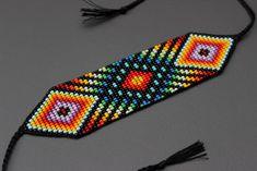 Beaded Hat Bands, Beaded Cuff Bracelet, Bead Loom Bracelets, Beaded Bracelet Patterns, Jewelry Patterns, Native Beading Patterns, Bead Embroidery Patterns, Bead Loom Patterns, Weaving Patterns