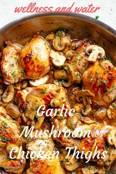 Mushroom Chicken Thighs garlic mushroom chicken thighs (low carb) is a quick throw together chicken recipe all cooked in one pan!garlic mushroom chicken thighs (low carb) is a quick throw together chicken recipe all cooked in one pan! Chicken Thights Recipes, Baked Chicken Recipes, Recipe Chicken, Butter Chicken, Garlic Butter, Chicken In A Pan, Chicken Theighs, Dutch Oven Chicken, Bone In Chicken Recipes