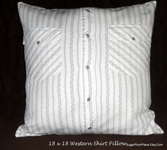 Industrial Exchange Shirt to Pillow, Western Snap Shirt White With Blue, 18 x 18, Mother of Pearl Snaps