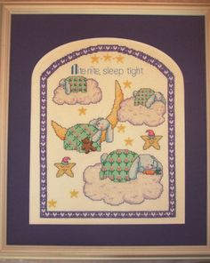 Completed Cross Stitch Open Frame Matted Baby Purple Bunny Moon Stars Clouds