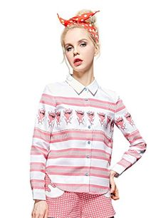 Womens Summer Print Striped Polo Tee Shirt Pink