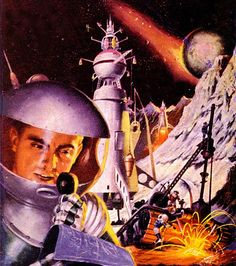 """Dark Roasted Blend: Rare & Wonderful 1950s Space Art - Dramatic space rescue illustration by Robert Lesser from """"Future Fiction"""" pulp magazine"""