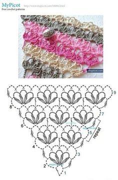 #haken, gratis teltekening, haakschema, omslagdoek, #haakpatroon, #crochet, free diagram, wrap, shawl