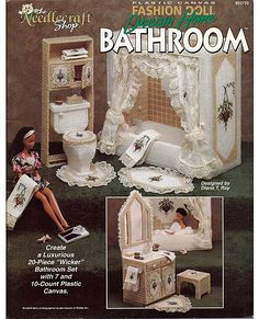 Fashion Doll Dream Home Bathroom Plastic Canvas Pattern  The Needlecraft Shop 933720. $24.00, via Etsy.    I have this book.