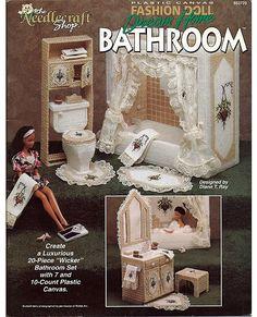 Fashion Doll Dream Home Bathroom Plastic Canvas Pattern  The Needlecraft Shop 933720. $24.00, via Etsy.