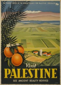 Save the date (peaches/oranges)   1947 Visit Palestine Vintage Travel Poster
