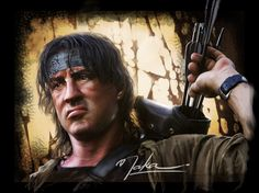 Figurines D'action, Silvester Stallone, First Blood, Iconic Movies, Digital Paintings, Actors, Comics, Celebrities, Fictional Characters