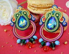 Nude Dangle Earrings Green Malachite Earrings by GiSoutacheJewelry