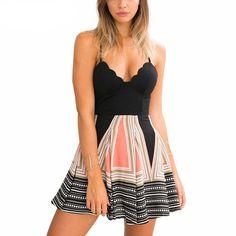 Women's V-Neck Sleeveless High Waist #Beach Summer Dress
