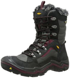 KEEN Women's Durand Polar Winter Boot, Black/Zinfandel, 8 M US. Leather-and-fabric winter boot featuring faux-fur collar and tongue lining. Non-marking lugged rubber outsole. Snow Boots Women, Winter Snow Boots, Winter Shoes, Cool Boots, Mid Calf Boots, Sneakers Fashion, Shoes Sneakers, Combat Boots, Women's Boots