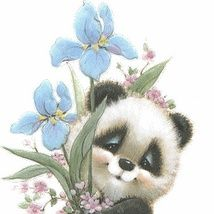 Sweet panda & flowers