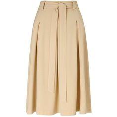 Miss Selfridge Camel Tie Waist Midi Skirt. ($44) ❤ liked on Polyvore featuring skirts, camel, beige skirt, beige midi skirt, calf length skirts, camel skirt and midi skirt