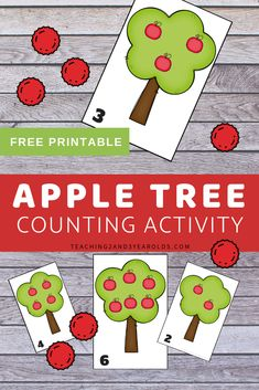 This apple counting printable activity is a fun way to work on simple math skills with toddlers and preschoolers. #apples #fall #printable #counting #numbers #math #toddlers #preschool #age2 #age3 #teaching2and3yearolds Preschool Apple Activities, Counting Activities, Preschool Printables, Preschool Math, Toddler Preschool, Toddler Activities, Preschool Ideas, Preschool Seasons, Numbers Preschool