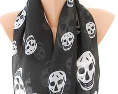 Day of the Dead Scarf Skull Scarf Black Scarf Shawl Cowl Scarf Cross Bones Scarf Women Fashion Accessories Gift Ideas For Her MiracleShine