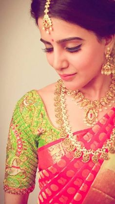 Beautiful samantha parrot green blouse with pink saree. www.shopzters.com