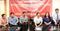 S K Sharma Member of Shrine Board and Chairman of governing body of Shri Mata Vaishno Devi College of Nursing launching website of the college on Wednesday.