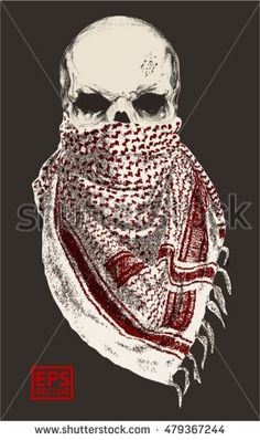 SKULL WITH BANDANA OR SCARF EDITABLE VECTOR