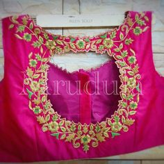 To customize whatsapp 9043230015 for Saree, blouse and Kurtis Kids Blouse Designs, Simple Blouse Designs, Saree Blouse Neck Designs, Bridal Blouse Designs, Hand Work Embroidery, Embroidery Designs, Magam Work Blouses, Maggam Work Designs, Blouse Models